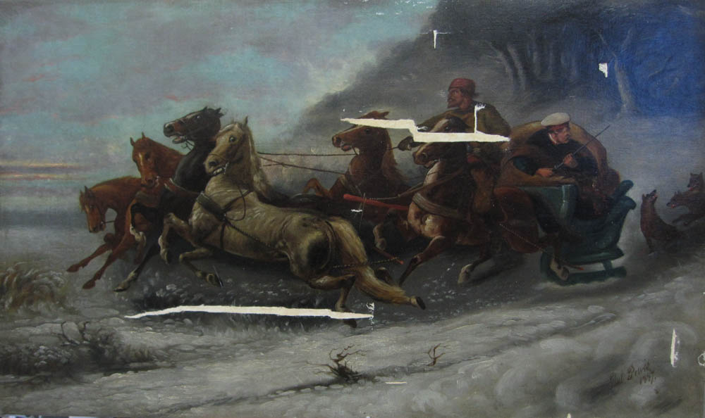 Peter and Pavel painting, two men in horse-drawn sleigh, chased by wolves, before treatment