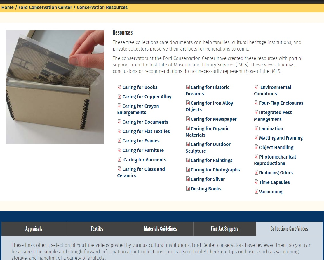 screen shot of Ford Center Resources page
