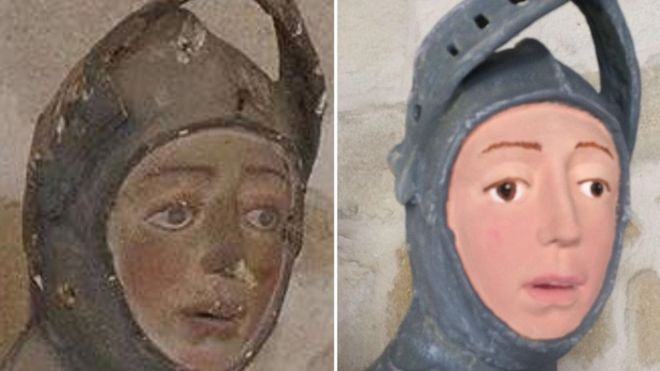 Images of sculpture of St George showing Before Treatment (left) and After Treatement (right)