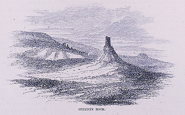 engraving of Chimney Rock by Richard Burton
