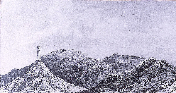 engraving of Chimney Rock by Charles Preuss