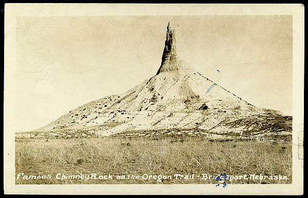 Postcard of Chimney Rock on the Oregon Trail