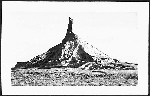 Postcard of Chimney Rock black and white photograph
