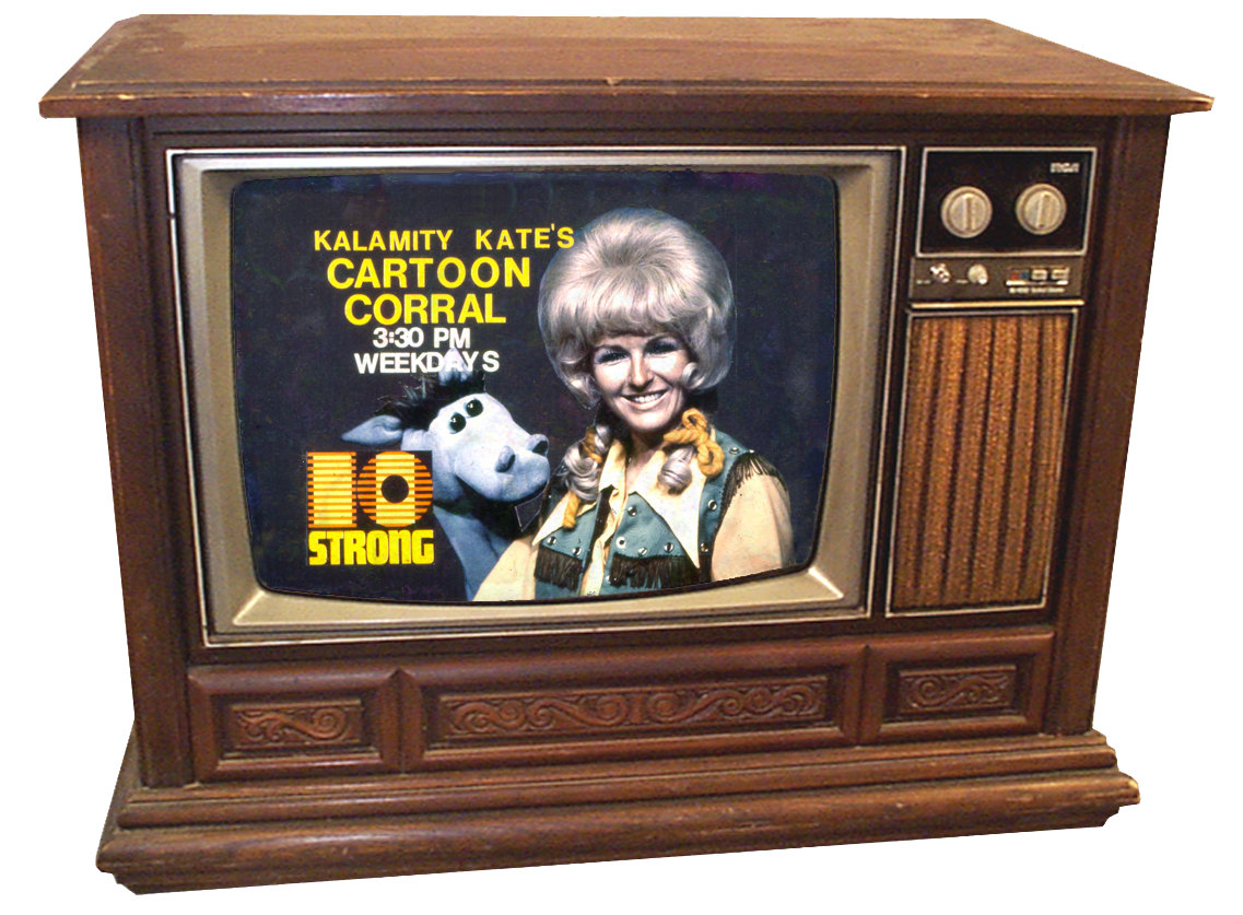 Console TV set showing Cartoon Corral show host and puppets