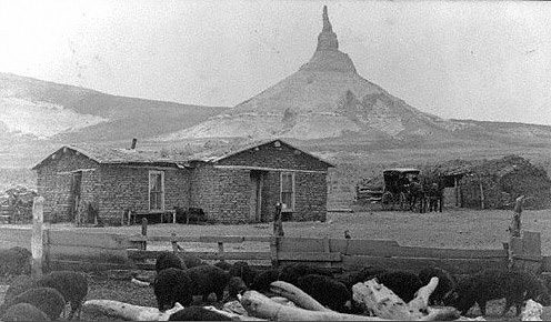 Photograph of Chimney Rock by Solomon D. Butcher from 1908.