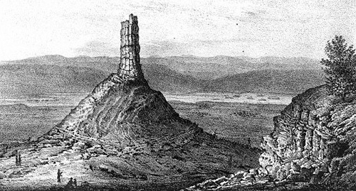 engraving of Chimney Rock by Father Nicholas Point