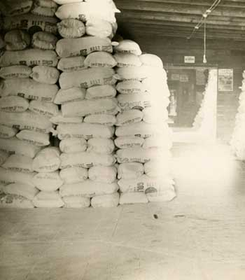 Image of flour sacks at Neligh Mill