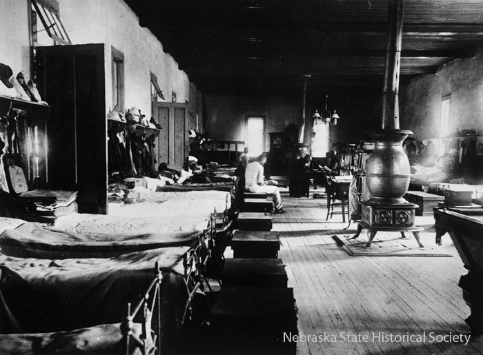 Interior of an 1887 adobe barracks at Fort Robinson.