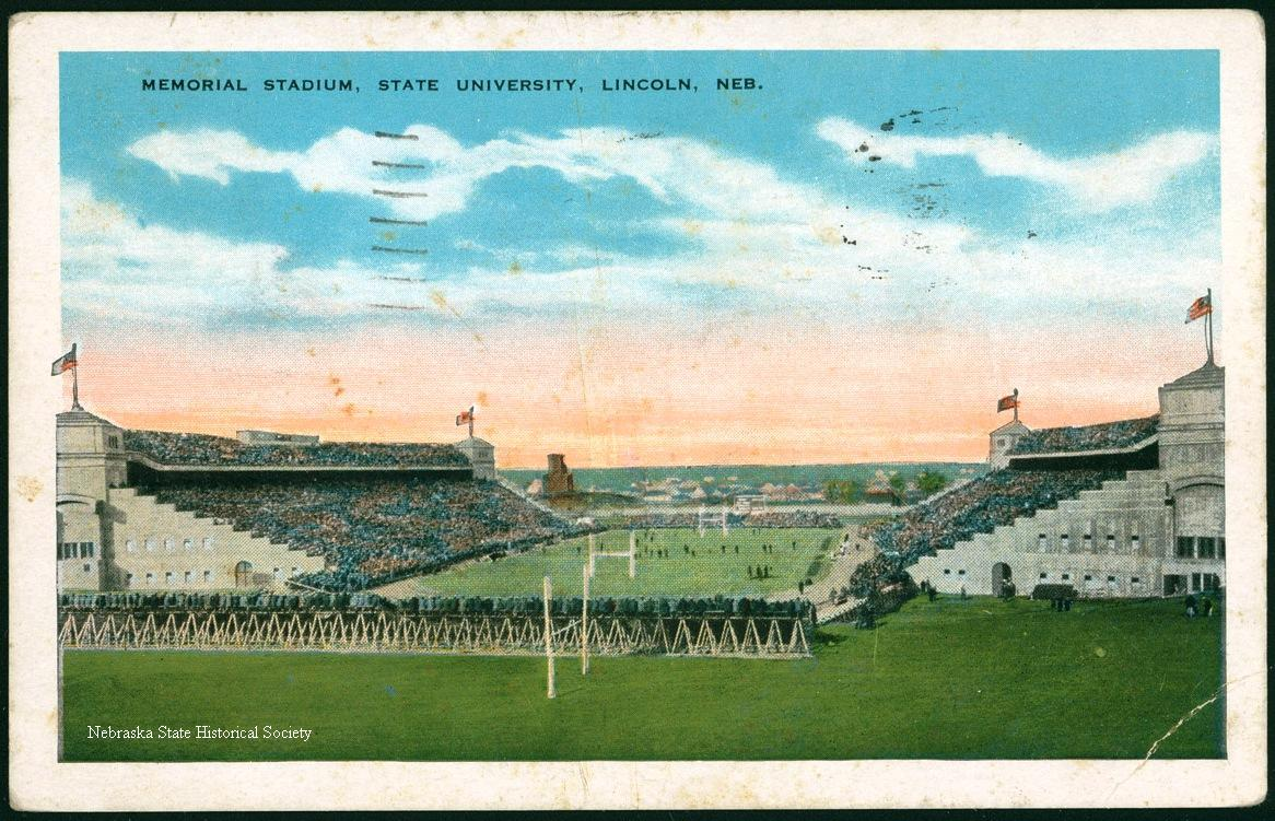 Undated postcard view of Memorial Stadium. NSHS RG2133-12-199